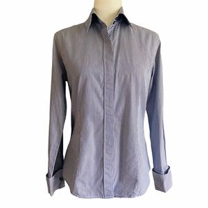 Burberry Blue Pinstripe Button Down Blouse